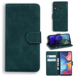 Retro Classic Skin Feel Leather Wallet Phone Case for Samsung Galaxy A20e - Green