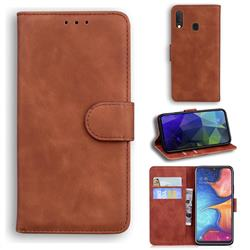 Retro Classic Skin Feel Leather Wallet Phone Case for Samsung Galaxy A20e - Brown