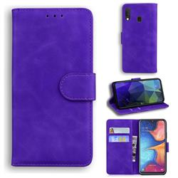 Retro Classic Skin Feel Leather Wallet Phone Case for Samsung Galaxy A20e - Purple