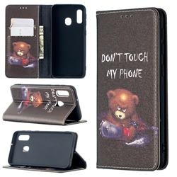 Chainsaw Bear Slim Magnetic Attraction Wallet Flip Cover for Samsung Galaxy A20e