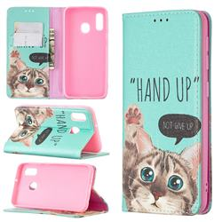 Hand Up Cat Slim Magnetic Attraction Wallet Flip Cover for Samsung Galaxy A20e