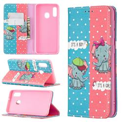 Elephant Boy and Girl Slim Magnetic Attraction Wallet Flip Cover for Samsung Galaxy A20e