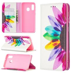 Sun Flower Slim Magnetic Attraction Wallet Flip Cover for Samsung Galaxy A20e