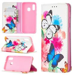 Flying Butterflies Slim Magnetic Attraction Wallet Flip Cover for Samsung Galaxy A20e