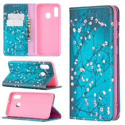 Plum Blossom Slim Magnetic Attraction Wallet Flip Cover for Samsung Galaxy A20e