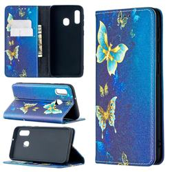 Gold Butterfly Slim Magnetic Attraction Wallet Flip Cover for Samsung Galaxy A20e