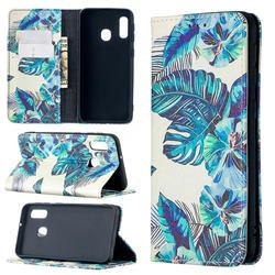 Blue Leaf Slim Magnetic Attraction Wallet Flip Cover for Samsung Galaxy A20e