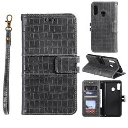 Luxury Crocodile Magnetic Leather Wallet Phone Case for Samsung Galaxy A20e - Gray