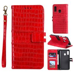 Luxury Crocodile Magnetic Leather Wallet Phone Case for Samsung Galaxy A20e - Red