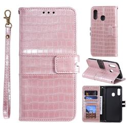 Luxury Crocodile Magnetic Leather Wallet Phone Case for Samsung Galaxy A20e - Rose Gold