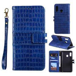 Luxury Crocodile Magnetic Leather Wallet Phone Case for Samsung Galaxy A20e - Blue