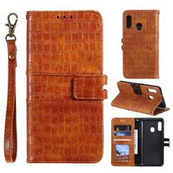 Luxury Crocodile Magnetic Leather Wallet Phone Case for Samsung Galaxy A20e - Brown