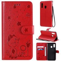 Embossing Bee and Cat Leather Wallet Case for Samsung Galaxy A20e - Red