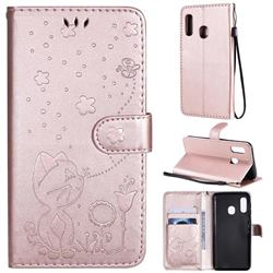 Embossing Bee and Cat Leather Wallet Case for Samsung Galaxy A20e - Rose Gold