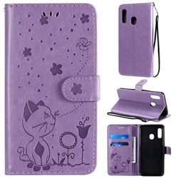 Embossing Bee and Cat Leather Wallet Case for Samsung Galaxy A20e - Purple