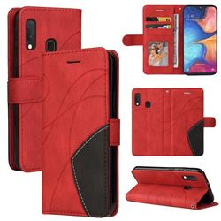 Luxury Two-color Stitching Leather Wallet Case Cover for Samsung Galaxy A20e - Red