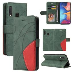 Luxury Two-color Stitching Leather Wallet Case Cover for Samsung Galaxy A20e - Green