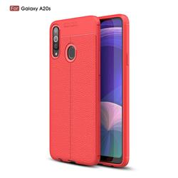 Luxury Auto Focus Litchi Texture Silicone TPU Back Cover for Samsung Galaxy A20s - Red