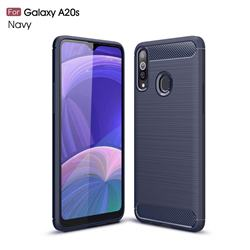 Luxury Carbon Fiber Brushed Wire Drawing Silicone TPU Back Cover for Samsung Galaxy A20s - Navy