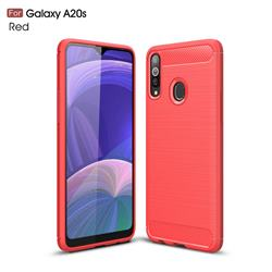 Luxury Carbon Fiber Brushed Wire Drawing Silicone TPU Back Cover for Samsung Galaxy A20s - Red