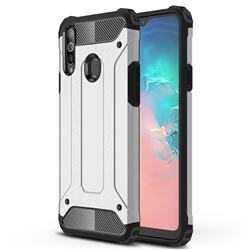 King Kong Armor Premium Shockproof Dual Layer Rugged Hard Cover for Samsung Galaxy A20s - White