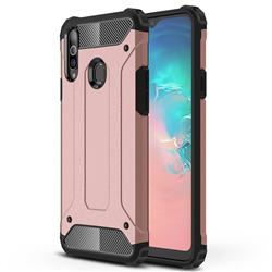 King Kong Armor Premium Shockproof Dual Layer Rugged Hard Cover for Samsung Galaxy A20s - Rose Gold