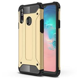 King Kong Armor Premium Shockproof Dual Layer Rugged Hard Cover for Samsung Galaxy A20s - Champagne Gold