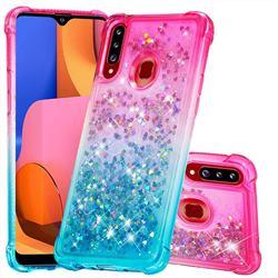 Rainbow Gradient Liquid Glitter Quicksand Sequins Phone Case for Samsung Galaxy A20s - Pink Blue