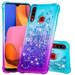 Rainbow Gradient Liquid Glitter Quicksand Sequins Phone Case for Samsung Galaxy A20s - Blue Purple