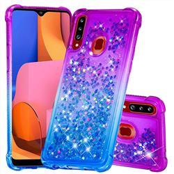 Rainbow Gradient Liquid Glitter Quicksand Sequins Phone Case for Samsung Galaxy A20s - Purple Blue