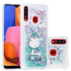 Tiny Unicorn Dynamic Liquid Glitter Sand Quicksand Star TPU Case for Samsung Galaxy A20s