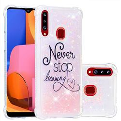 Never Stop Dreaming Dynamic Liquid Glitter Sand Quicksand Star TPU Case for Samsung Galaxy A20s