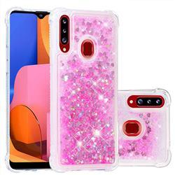 Dynamic Liquid Glitter Sand Quicksand TPU Case for Samsung Galaxy A20s - Pink Love Heart