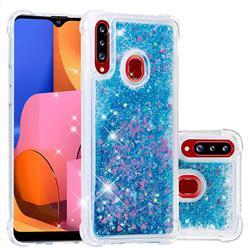 Dynamic Liquid Glitter Sand Quicksand TPU Case for Samsung Galaxy A20s - Blue Love Heart