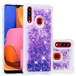 Dynamic Liquid Glitter Sand Quicksand Star TPU Case for Samsung Galaxy A20s - Purple
