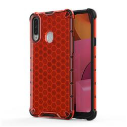 Honeycomb TPU + PC Hybrid Armor Shockproof Case Cover for Samsung Galaxy A20s - Red
