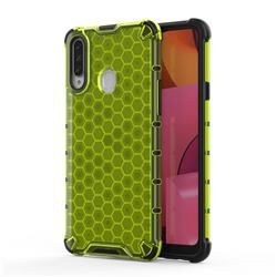 Honeycomb TPU + PC Hybrid Armor Shockproof Case Cover for Samsung Galaxy A20s - Green
