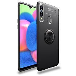 Auto Focus Invisible Ring Holder Soft Phone Case for Samsung Galaxy A20s - Black