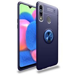 Auto Focus Invisible Ring Holder Soft Phone Case for Samsung Galaxy A20s - Blue