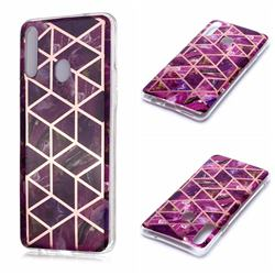Purple Rhombus Galvanized Rose Gold Marble Phone Back Cover for Samsung Galaxy A20s