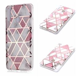 Pink Rhombus Galvanized Rose Gold Marble Phone Back Cover for Samsung Galaxy A20s
