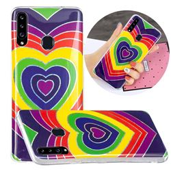 Rainbow Heart Painted Galvanized Electroplating Soft Phone Case Cover for Samsung Galaxy A20s