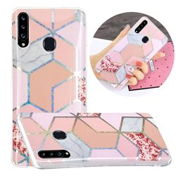 Pink Marble Painted Galvanized Electroplating Soft Phone Case Cover for Samsung Galaxy A20s