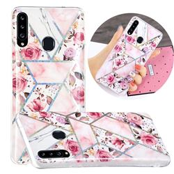 Rose Flower Painted Galvanized Electroplating Soft Phone Case Cover for Samsung Galaxy A20s