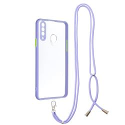 Necklace Cross-body Lanyard Strap Cord Phone Case Cover for Samsung Galaxy A20s - Purple