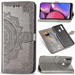 Embossing Imprint Mandala Flower Leather Wallet Case for Samsung Galaxy A20s - Gray