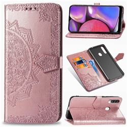 Embossing Imprint Mandala Flower Leather Wallet Case for Samsung Galaxy A20s - Rose Gold