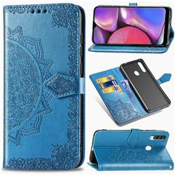 Embossing Imprint Mandala Flower Leather Wallet Case for Samsung Galaxy A20s - Blue