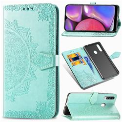 Embossing Imprint Mandala Flower Leather Wallet Case for Samsung Galaxy A20s - Green