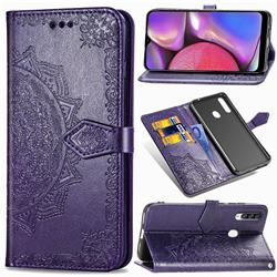 Embossing Imprint Mandala Flower Leather Wallet Case for Samsung Galaxy A20s - Purple